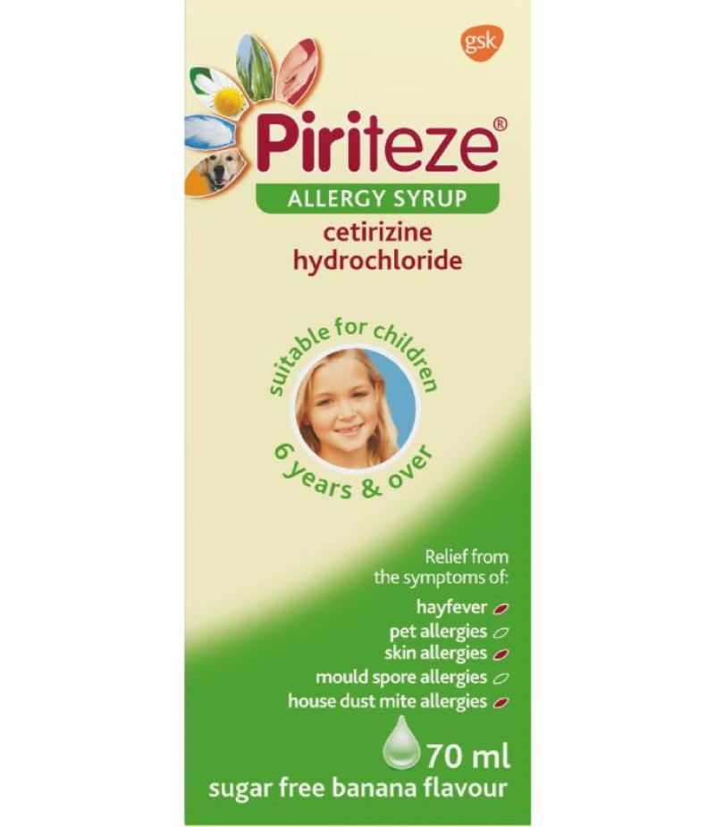 PIRITEZE allergy syrup once-a-day 10mg 70ml