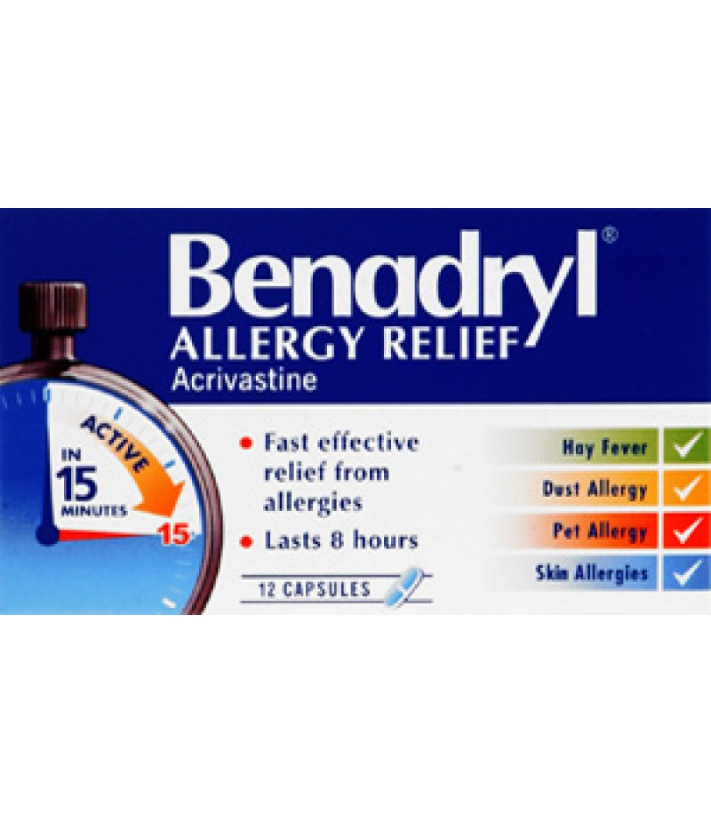 BENADRYL ALLERGY RELIEF capsules 8mg  12