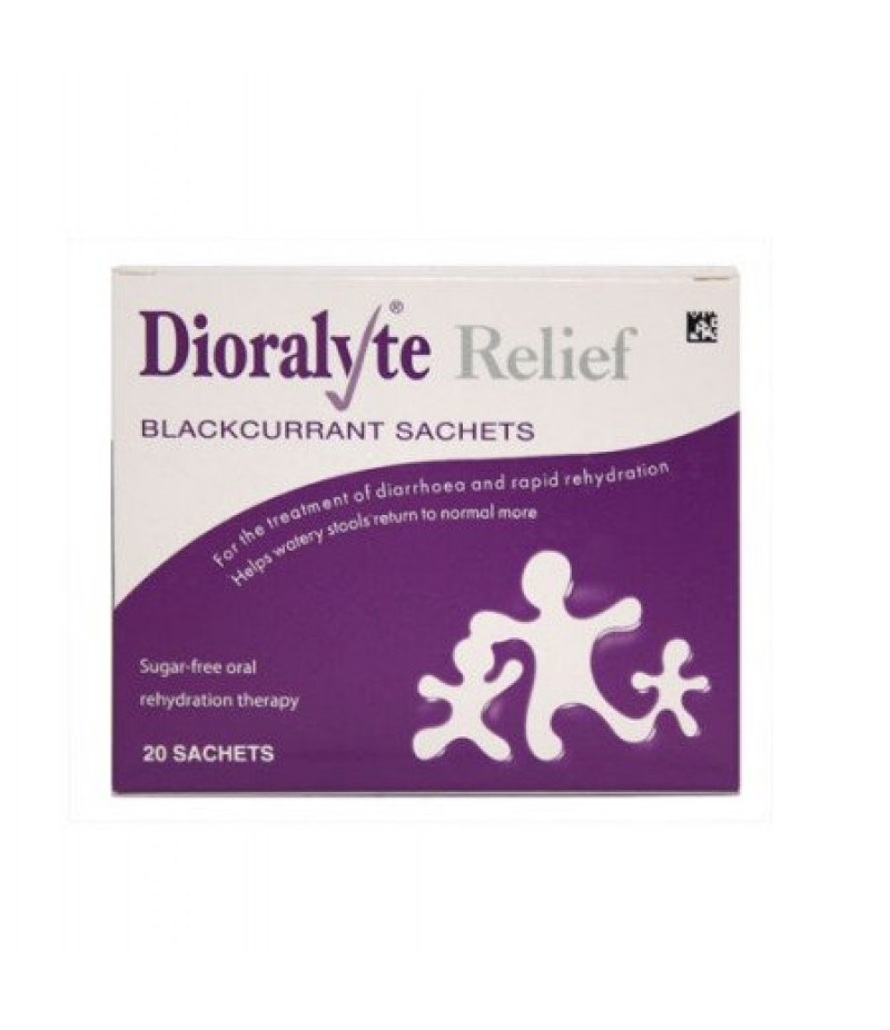 DIORALYTE RELIEF oral rehydration therapy sugar-free sachets blackcurrant 300mg/350mg/580mg  20