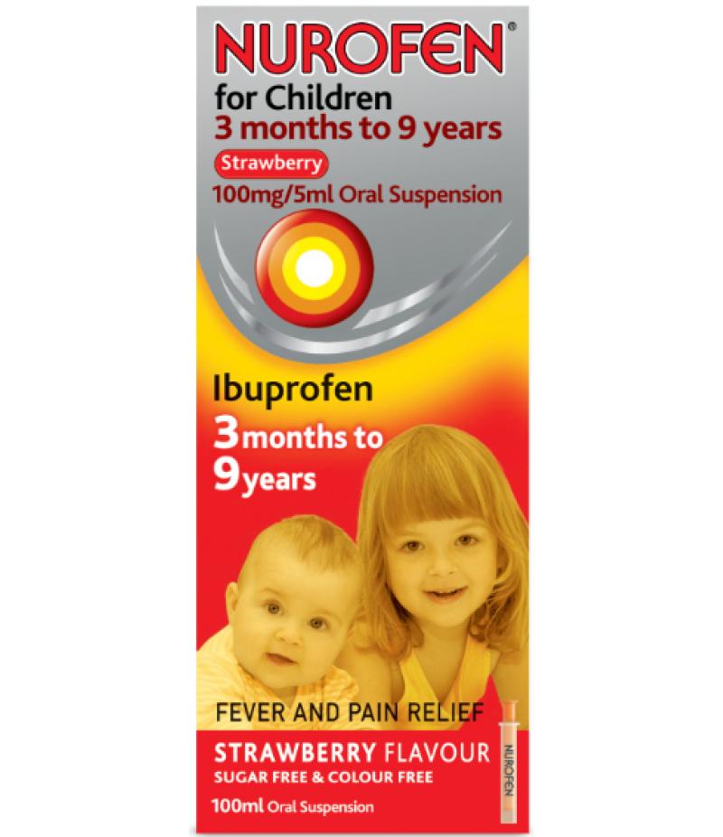 NUROFEN FOR CHILDREN oral suspension 3 months to 9 years strawberry 100mg/5ml 100ml