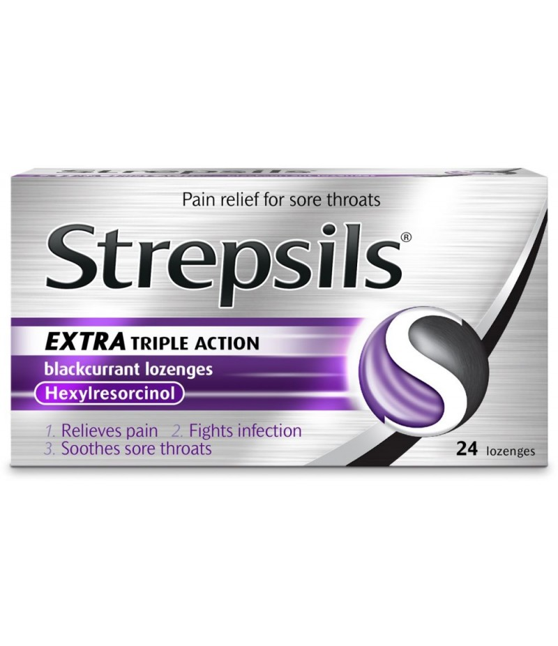 STREPSILS lozenge extra triple action blackcurrant 2.4mg  24