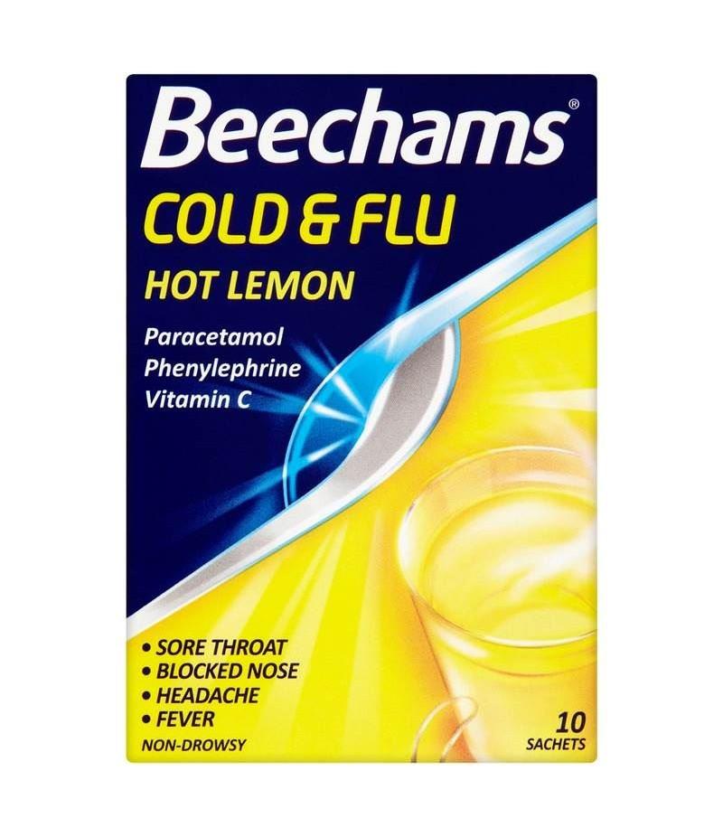 BEECHAMS cold & flu sachets hot lemon 40mg/600mg/10mg  10