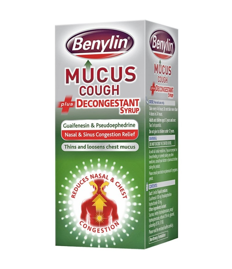 BENYLIN mucus cough + decongestant 100mg/30mg 100ml