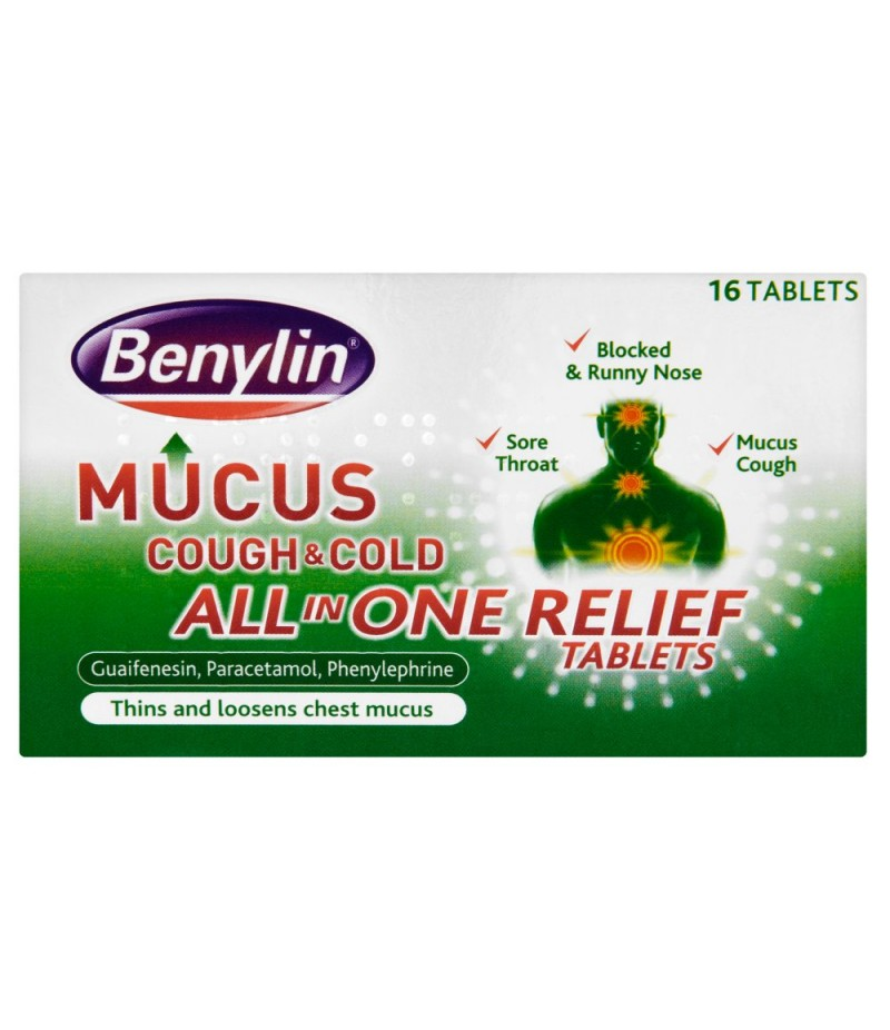 BENYLIN mucus cough & cold all in one relief tablets 100 mg/250 mg/5 mg  16