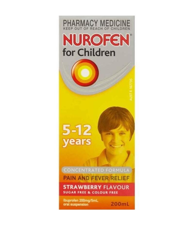 NUROFEN FOR CHILDREN suspension with syringe strawberry s/f 200ml