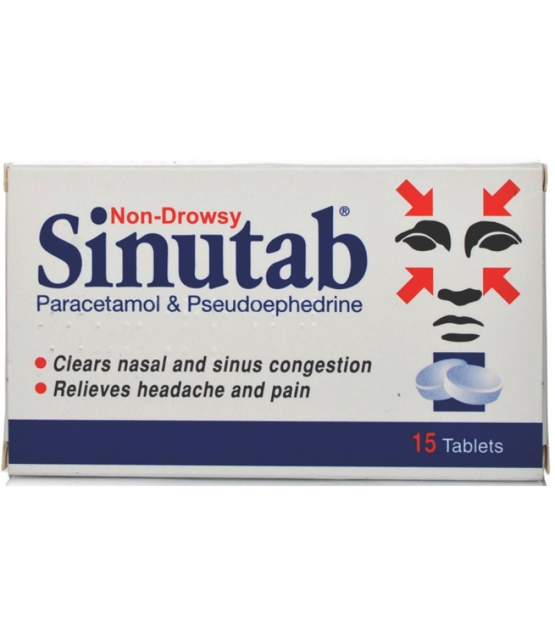 SINUTAB tablets non-drowsy 500mg/30mg  15